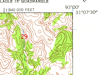 Reduced fragment of topographic map en--usgs--024k--003987--(1954)--N031-07-30_W093-07-30--N031-00-00_W093-00-00