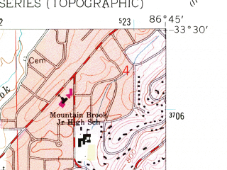 Reduced fragment of topographic map en--usgs--024k--004003--(1959)--N033-30-00_W086-52-30--N033-22-30_W086-45-00; towns and cities Homewood, Hoover, Vestavia Hills