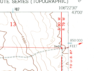 Reduced fragment of topographic map en--usgs--024k--004020--(1960)--N043-00-00_W106-30-00--N042-52-30_W106-22-30; towns and cities Mountain View