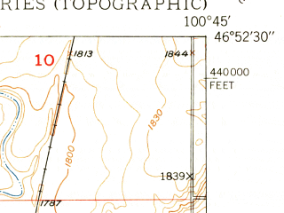 Reduced fragment of topographic map en--usgs--024k--004031--(1950)--N046-52-30_W100-52-30--N046-45-00_W100-45-00; towns and cities Bismarck