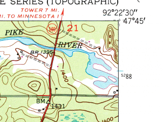 Reduced fragment of topographic map en--usgs--024k--004065--(1950)--N047-45-00_W092-30-00--N047-37-30_W092-22-30