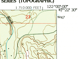 Reduced fragment of topographic map en--usgs--024k--004104--(1949)--N047-22-30_W122-07-30--N047-15-00_W122-00-00; towns and cities Covington, Black Diamond