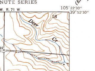 Reduced fragment of topographic map en--usgs--024k--004116--(1948)--N039-52-30_W105-30-00--N039-45-00_W105-22-30; towns and cities Black Hawk