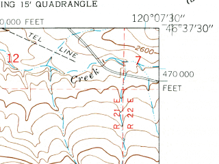 Reduced fragment of topographic map en--usgs--024k--004195--(1953)--N046-37-30_W120-15-00--N046-30-00_W120-07-30
