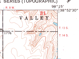 Reduced fragment of topographic map en--usgs--024k--004210--(1957)--N038-52-30_W098-22-30--N038-45-00_W098-15-00