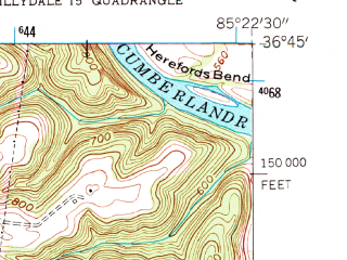 Reduced fragment of topographic map en--usgs--024k--004241--(1954)--N036-45-00_W085-30-00--N036-37-30_W085-22-30
