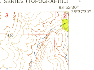 Reduced fragment of topographic map en--usgs--024k--004310--(1955)--N038-37-30_W094-00-00--N038-30-00_W093-52-30; towns and cities Blairstown