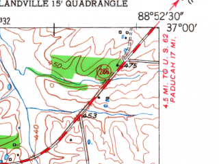 Reduced fragment of topographic map en--usgs--024k--004357--(1951)--N037-00-00_W089-00-00--N036-52-30_W088-52-30; towns and cities Blandville