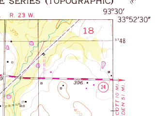 Reduced fragment of topographic map en--usgs--024k--004376--(1951)--N033-52-30_W093-37-30--N033-45-00_W093-30-00; towns and cities Blevins
