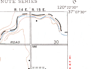 Reduced fragment of topographic map en--usgs--024k--004388--(1948)--N037-07-30_W120-30-00--N037-00-00_W120-22-30