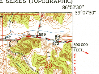 Reduced fragment of topographic map en--usgs--024k--004428--(1951)--N039-07-30_W087-00-00--N039-00-00_W086-52-30; towns and cities Bloomfield, Worthington