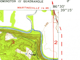 Reduced fragment of topographic map en--usgs--024k--004440--(1956)--N039-15-00_W086-37-30--N039-07-30_W086-30-00; towns and cities Bloomington, Ellettsville