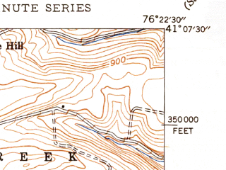 Reduced fragment of topographic map en--usgs--024k--004448--(1947)--N041-07-30_W076-30-00--N041-00-00_W076-22-30; towns and cities Bloomsburg, Almedia, Espy, Orangeville