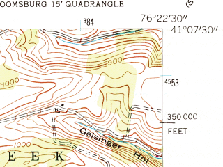Reduced fragment of topographic map en--usgs--024k--004448--(1953)--N041-07-30_W076-30-00--N041-00-00_W076-22-30; towns and cities Bloomsburg, Almedia, Espy, Orangeville