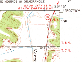 Reduced fragment of topographic map en--usgs--024k--004527--(1962)--N043-07-30_W089-52-30--N043-00-00_W089-45-00; towns and cities Blue Mounds