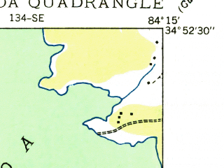 Reduced fragment of topographic map en--usgs--024k--004551--(1935)--N034-52-30_W084-22-30--N034-45-00_W084-15-00; towns and cities Blue Ridge