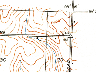 Reduced fragment of topographic map en--usgs--024k--004560--(1933)--N039-07-30_W094-22-30--N039-00-00_W094-15-00; towns and cities Independence, Blue Springs, Lake Tapawingo