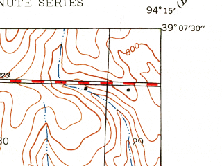 Reduced fragment of topographic map en--usgs--024k--004560--(1945)--N039-07-30_W094-22-30--N039-00-00_W094-15-00; towns and cities Independence, Blue Springs, Lake Tapawingo