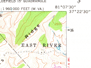 Reduced fragment of topographic map en--usgs--024k--004569--(1962)--N037-22-30_W081-15-00--N037-15-00_W081-07-30