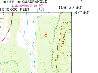 Reduced fragment of topographic map en--usgs--024k--004595--(1962)--N037-30-00_W109-45-00--N037-22-30_W109-37-30