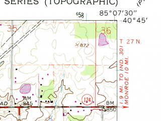 Reduced fragment of topographic map en--usgs--024k--004605--(1962)--N040-45-00_W085-15-00--N040-37-30_W085-07-30; towns and cities Bluffton, Poneto