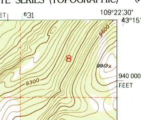 Reduced fragment of topographic map en--usgs--024k--004637--(1952)--N043-15-00_W109-30-00--N043-07-30_W109-22-30
