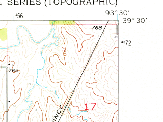 Reduced fragment of topographic map en--usgs--024k--004677--(1957)--N039-30-00_W093-37-30--N039-22-30_W093-30-00; towns and cities Bogard