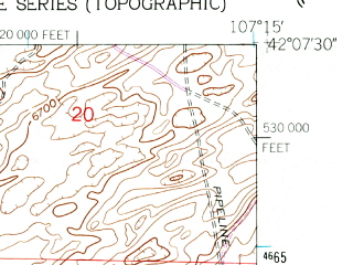 Reduced fragment of topographic map en--usgs--024k--004690--(1960)--N042-07-30_W107-22-30--N042-00-00_W107-15-00