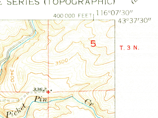Reduced fragment of topographic map en--usgs--024k--004719--(1954)--N043-37-30_W116-15-00--N043-30-00_W116-07-30; towns and cities Boise