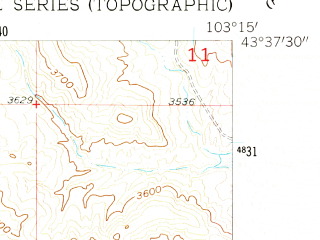 Reduced fragment of topographic map en--usgs--024k--004725--(1957)--N043-37-30_W103-22-30--N043-30-00_W103-15-00
