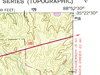 Reduced fragment of topographic map en--usgs--024k--004744--(1961)--N035-22-30_W089-00-00--N035-15-00_W088-52-30; towns and cities Bolivar, Toone