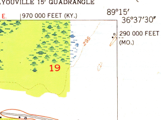 Reduced fragment of topographic map en--usgs--024k--004777--(1951)--N036-37-30_W089-22-30--N036-30-00_W089-15-00
