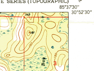Reduced fragment of topographic map en--usgs--024k--004796--(1951)--N030-52-30_W085-45-00--N030-45-00_W085-37-30; towns and cities Bonifay