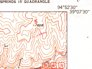 Reduced fragment of topographic map en--usgs--024k--004813--(1951)--N039-07-30_W095-00-00--N039-00-00_W094-52-30; towns and cities Bonner Springs