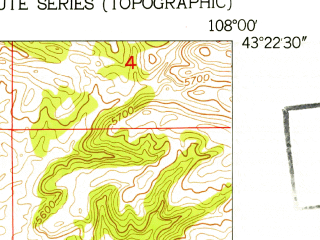 Reduced fragment of topographic map en--usgs--024k--004820--(1951)--N043-22-30_W108-07-30--N043-15-00_W108-00-00