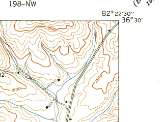Reduced fragment of topographic map en--usgs--024k--004848--(1940)--N036-30-00_W082-30-00--N036-22-30_W082-22-30; towns and cities Spurgeon, Gray, Oak Grove