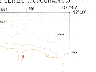Reduced fragment of topographic map en--usgs--024k--004883--(1953)--N042-00-00_W104-52-30--N041-52-30_W104-45-00