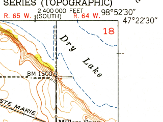 Reduced fragment of topographic map en--usgs--024k--004896--(1951)--N047-22-30_W099-00-00--N047-15-00_W098-52-30