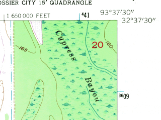Reduced fragment of topographic map en--usgs--024k--004924--(1960)--N032-37-30_W093-45-00--N032-30-00_W093-37-30; towns and cities Bossier City