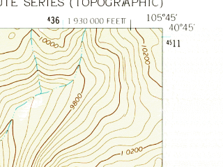 Reduced fragment of topographic map en--usgs--024k--004931--(1962)--N040-45-00_W105-52-30--N040-37-30_W105-45-00