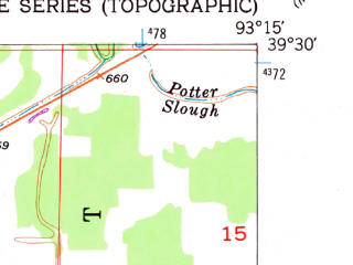 Reduced fragment of topographic map en--usgs--024k--004943--(1951)--N039-30-00_W093-22-30--N039-22-30_W093-15-00; towns and cities Bosworth