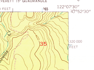 Reduced fragment of topographic map en--usgs--024k--004944--(1953)--N047-52-30_W122-15-00--N047-45-00_W122-07-30; towns and cities North Creek, Silver Lake-fircrest, Alderwood Manor-bothell North, Bothell, Martha Lake