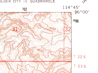 Reduced fragment of topographic map en--usgs--024k--004970--(1958)--N036-00-00_W114-52-30--N035-52-30_W114-45-00; towns and cities Boulder City