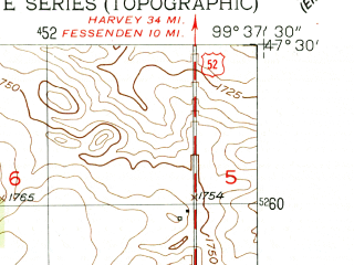 Reduced fragment of topographic map en--usgs--024k--005031--(1951)--N047-30-00_W099-45-00--N047-22-30_W099-37-30; towns and cities Bowdon