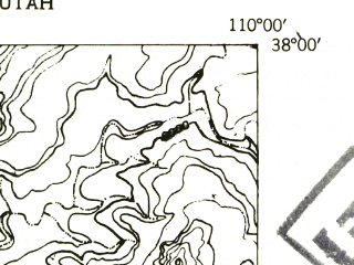 Reduced fragment of topographic map en--usgs--024k--005035--(1954)--N038-00-00_W110-07-30--N037-52-30_W110-00-00