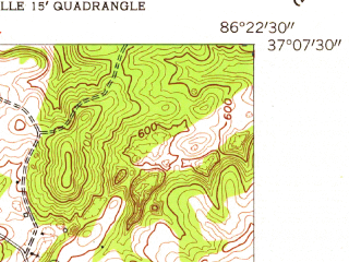 Reduced fragment of topographic map en--usgs--024k--005075--(1954)--N037-07-30_W086-30-00--N037-00-00_W086-22-30; towns and cities Plum Springs