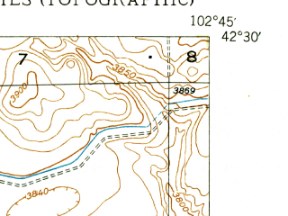 Reduced fragment of topographic map en--usgs--024k--005097--(1949)--N042-30-00_W102-52-30--N042-22-30_W102-45-00