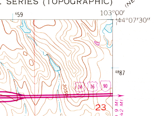 Reduced fragment of topographic map en--usgs--024k--005106--(1953)--N044-07-30_W103-07-30--N044-00-00_W103-00-00; towns and cities Box Elder