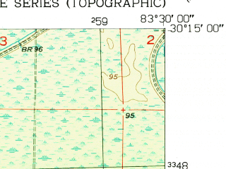 Reduced fragment of topographic map en--usgs--024k--005130--(1954)--N030-15-00_W083-37-30--N030-07-30_W083-30-00