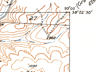 Reduced fragment of topographic map en--usgs--024k--005158--(1935)--N038-22-30_W093-07-30--N038-15-00_W093-00-00